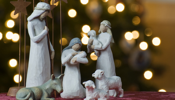 Nativity scene with lights