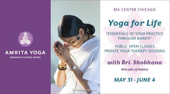 AMRITA YOGA CLASSES & PRIVATE SESSIONS WITH BRI. SHOBHANA