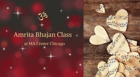 """Image showing the class title """"Amrita Kirtan Class"""" and a picture of music sheets cut into hearts"""