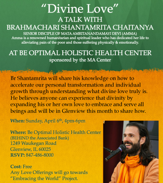 """Divine Love"" Talk by Br. Shantamrita Chaitanya at Be Optimal Health Center"