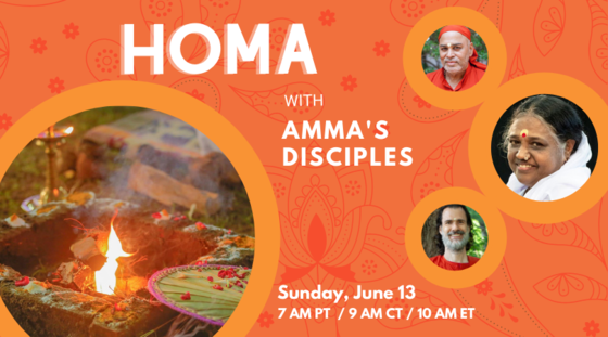Image of a homa fire with a fan and flower petals alongside pictures of Amma with disciples