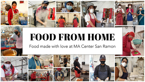 Food From Home - Food made with love at MA Center San Ramon - photo collage of FFH volunteers, seva