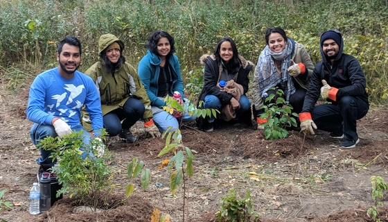 AYUDH Toronto members with tree saplings