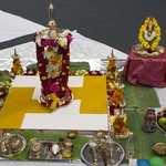 Ganesh murti next to ready altar