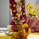 Small lamp with marigold garlands