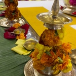 Small lamps with marigold garlands