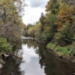 River edged by autumn trees