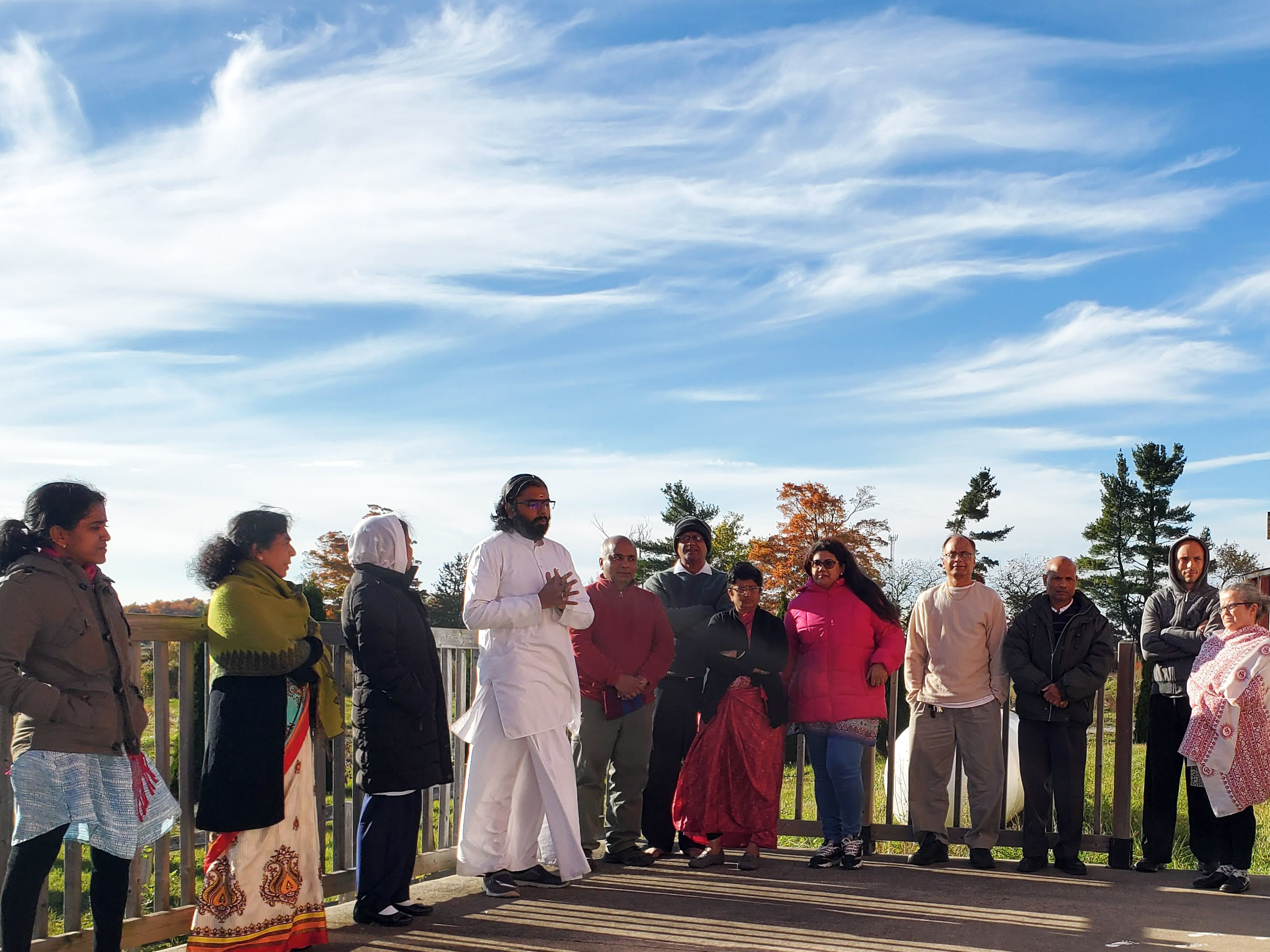 Br. Ramanand speaking to a group outside
