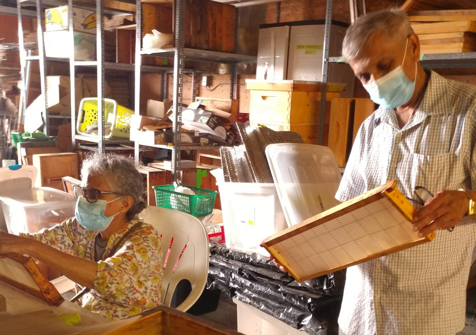 Beekeepers cleaning frames