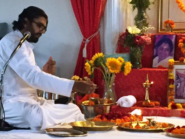 Br Ramanand performing the Guru Paduka Puja
