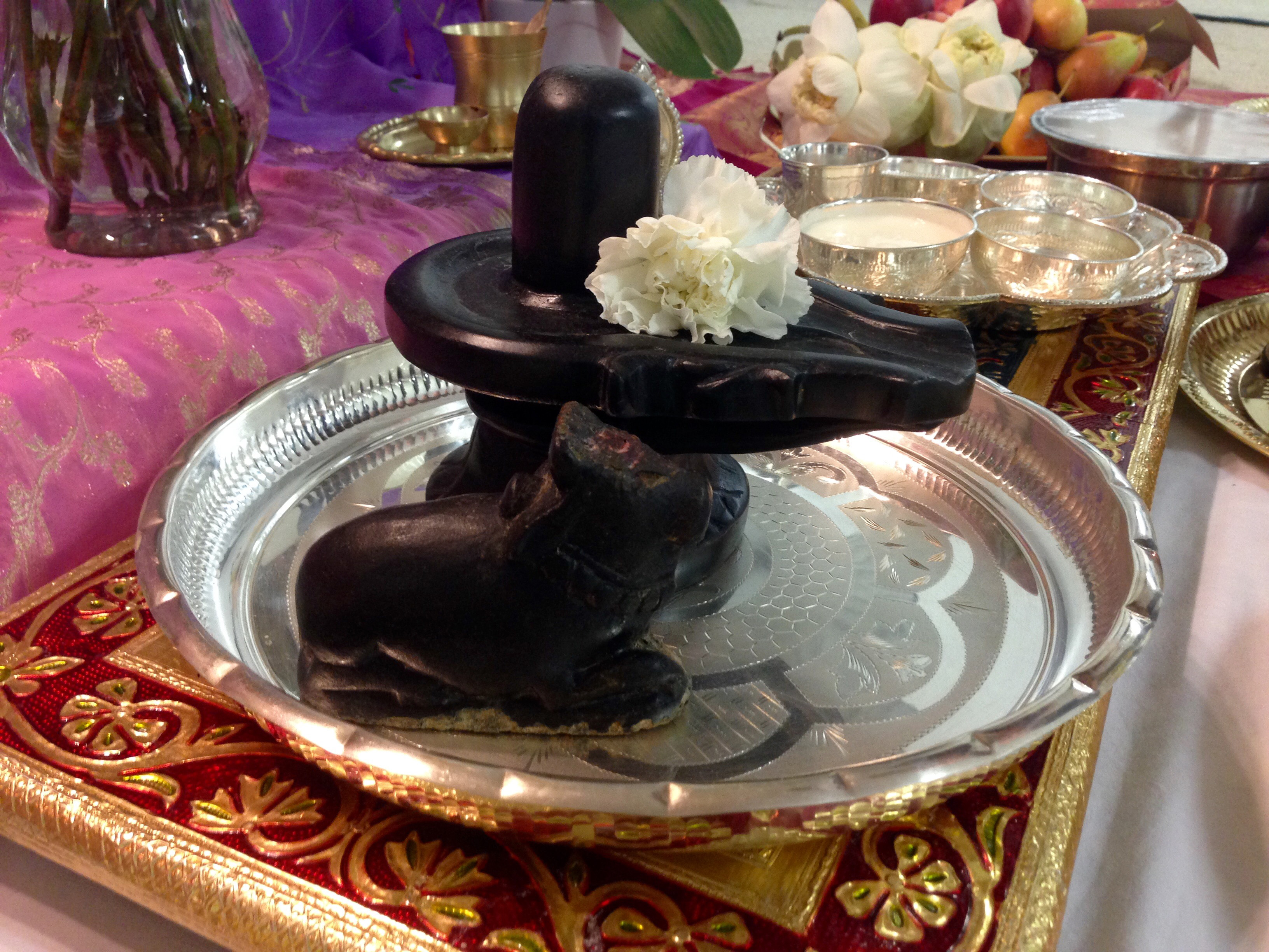 Dark stone Shiva Lingam and Nandi on silver plate