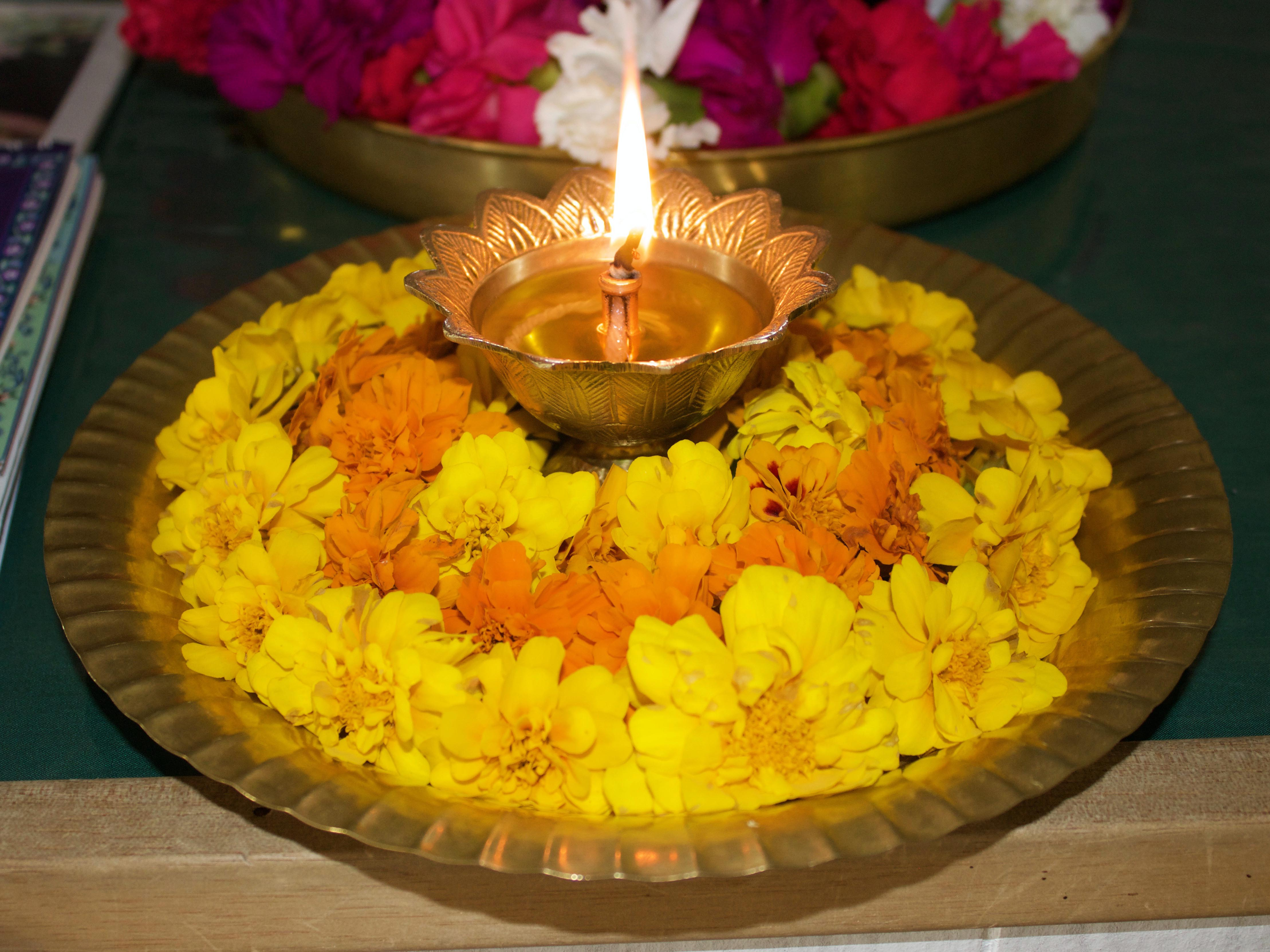 Arati tray with marigolds